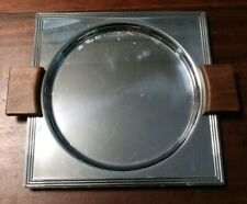 Vintage Art Deco Manning Bowman Criterion Chrome Tray With Wood Handles Rare