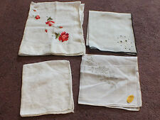 """Collectible Ladies Handkerchief Set 4 Embroidered Floral One Labeled 10-16"""" NICE"""