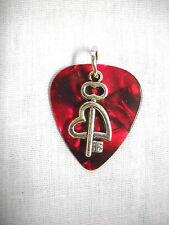 NEW BLOOD RED GUITAR PICK KEY TO MY HEART CUPID STYLE CHARM PENDANT ADJ NECKLACE