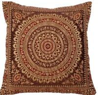 "Brown Indian Ethnic Mandala Silk Brocade Cushion Covers Handmade 15"" Zip Back"