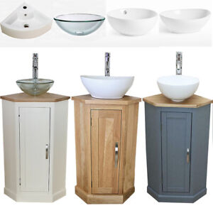 Bathroom Vanity Corner Unit | Solid Oak Sink Cabinet | Ceramic Basin Tap & Plug