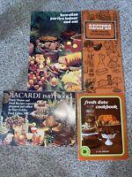 Lot (4) Vintage Recipe Book Pamphlets, Date Cookbook Bacardi, Hawaiian, Recipes