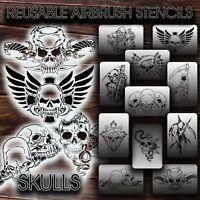 Airbrush Stencils REUSABLE SKULLS New  VINYL (adhesive)