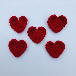 5 Handmade Crochet Hearts Valentines Day