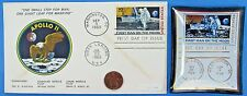 APOLLO 11 ENVELOPE / TRAY pair '69 vtg NASA postal COVER Moon Landing EAGLE