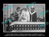 OLD LARGE HISTORIC PHOTO OF AMERICAN EVANGELIST AMIEE SEMPLE McPHERSON c1935