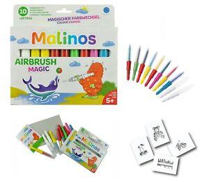 Malinos BloPens Magic 10er Set inkl Schablonen Pustestifte mit Farbwechsel