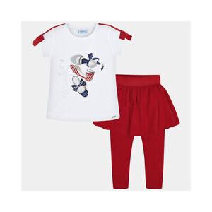 MAYORAL Kids Girls Ballerinas Logo Print T-Shirt Peplum Skirt Leggings 3pc Set