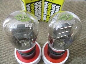 2 Sylvania 26 Globe Vacuum Tubes Matched 1920s Engraved Base & Same Codes & Leaf