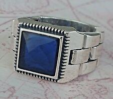 Turkish Unique  Sapphire Blue Gemstone 925 Sterling Silver Mens Ring Gemstone