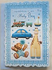 Congratulations on your new Baby Boy greeting card 12x18cm