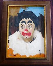 CLOWN OIL CANVAS ORIGINAL PAINTING BY CUMMING 1960 EXC Colors Clown Expression