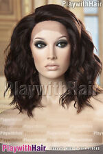 Bouncy Full Flowing Lace Front Wig Heat Friendly Safe OK Brown Auburn Mix
