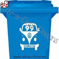 Personalised VW Camper Dub Style Wheelie Bin Recycle House Number Sticker X 6 Burgundy