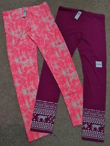 Lot (2) Old Navy Leggings-Pink/Purple/White Splatter/Tiger-Full Length-14 Plus