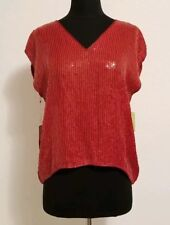 Vintage Retro Red Sequin Beaded Designer Silk Blouse by Rina Z. Size M