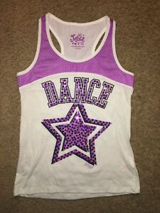 Girl's Justice White , Purple & Black Tank with Sequin Dance & Star Size 12