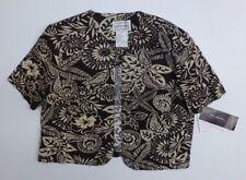 Karin Stevens Blazer Womens 14 Brown Cream Floral Open Linen Blend Jacket NWT