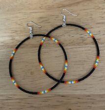 """Native American Handcrafted Style Black Hoop Beaded Earrings 2.5"""" Long"""