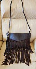 River Island Brown leather & suede cross body or Shoulder bag Fringed Tassels