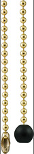 """Wooden Ball PULL + 36"""" Polished Brass beaded chain #6 Ball w/ connector GE 54433"""