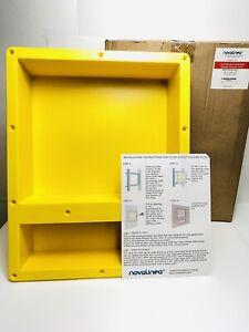 Novalinea Flush Mount Double Recessed Shower Shelf Yellow 16x20x4 NO SCREWS