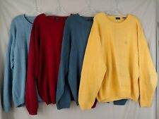 IZOD 100% Cotton Mens Sweater LOT of 4 XXL 2XL Big Long Sleeve Multi Color