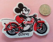 Motorcycle MICKEY MOUSE  -  Mickey rides a  motorcycle iron on patch NEW