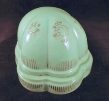 Vintage Art Deco Celluloid Presentation Ring Box, Jade Green w/ Etching