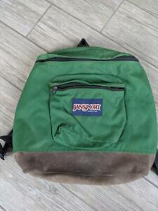 1990s vintage USA made JANSPORT backpack SUEDE green canvas