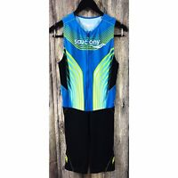 Saucony Men's Elite TRI Triathlon Suit Medium Cycling Zip Tank Shorts Run Bike