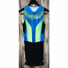 Saucony Men's Elite Tri Triathlon Suit Medium Cycling Zip Tank Shorts Run Bike