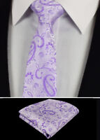Mens Lilac Purple White Tie & Handkerchief Silk Floral Pocket Square Hanky 130