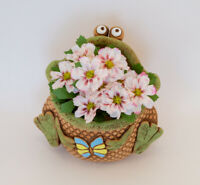 Frog Ceramic Planter,Clay Toad Plants Pot Cachepot,Russian Handmade,Brown Green