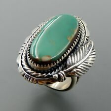 Handcrafted sterling silver beautiful oval green turquoise feather wide ring, 9