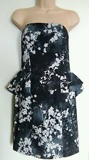 bnwt H&M OCCASION DRESS UK 12 38 PEPLUM LINED GREY FLORAL DETACHABLE STRAPS