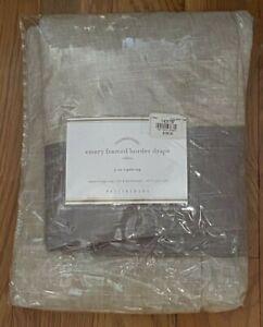 "Pottery Barn Emery Framed Border Drape 3-in-1 Pole Top 50 x 84"" Oatmeal Gray NIP"
