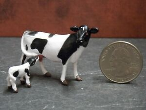 Dollhouse Miniature Cow & Calf Set Animals A17 1:48 Quarter Scale Dollys Gallery