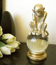 The Thinker Pensive Philosopher Ape / Monkey on The Crystal Globe Figurine