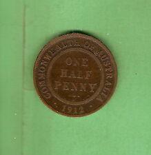 1912  AUSTRALIAN BRONZE HALFPENNY  COIN