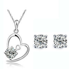 Silver and White Zircon Jewellery Set Stud Earrings Heart Pendant Necklace S620