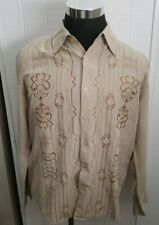 Contigo Button Up Cotton Shirt L/S Tan Brow Geometric Embroidered Pattern Large