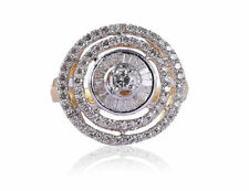Pave 0.92 Cts Natural Diamonds Anniversary Ring In Fine Hallmark 14K Yellow Gold