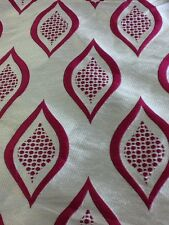 curtain fabric moroccan style pattern pink and silver faux silk by the metre