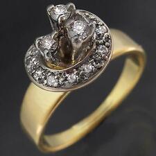 High SPIRAL of 14 DIAMOND Custom 18k Solid Yellow GOLD STATEMENT RING Mid Sz N
