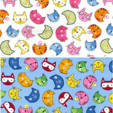 100% Cotton Poplin Fabric Rose & Hubble Cartoon Cat Faces Kitten Cats