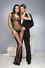 XL Black Fishnet Lace Bra + Pantie Backless Body Stocking Sexy Lingerie P1750Q