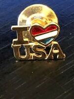Collectible Vintage I Love USA Heart Colorful Metal Pinback Lapel Pin Hat Pin