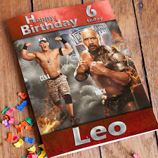 WRESTLING CENA ROCK WWE  Personalised Birthday Card! FAST 1st Class Shipping!