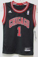 NWT NBA ADIDAS REPLICA JERSEY- DERRICK ROSE CHICAGO BULLS YOUTH SMALL BLACK